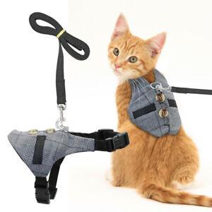 Cat Walking Jacket Harness & Leads Escape Proof Adjustable Pet Dog Vest Clothes