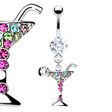 COCKTAIL BELLY BAR Martini Drink Glass Crystal Rhinestone Dangle Navel Piercing