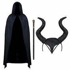 Malvada bruja Maléfica Traje de Halloween-NEGRO CAPA, Cuernos & Caña