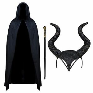 Evil Witch Halloween Gothic Cosplay Fancy Dress Outfit - Black Cape, Horns, Cane