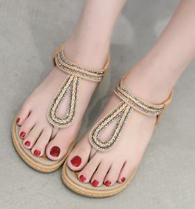 Bohemia Women Rhinestone Thong Toe Flat Sandals Beach Boho Slipper Holiday Shoes