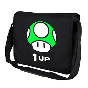 1 Up Mushroom Gamer Gaming Geek Nerd Level Motif Fun Shoulder Bag Messenger Bag
