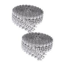 2x 5yard Flower Crystal Sparkling Rhinestone Mesh Ribbon Trim for Art Craft