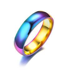 Hematite Titanium Steel Rainbow Colorful Rings Engagement Wedding Band Jewelry