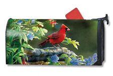Magnet Works Mailwraps Cardinal Perch Bird Original Magnetic Mailbox Wrap Cover