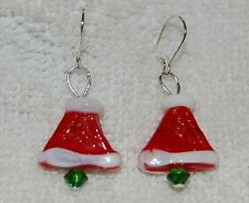 Santa Hat, Glass Beaded and Sterling Silver Wire Earrings, Made in the USA