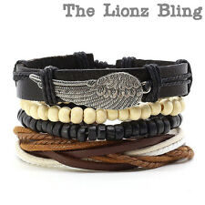 Bohemian stacked Wing Pendant Leather, Braided Cord & Wood Bead Bracelets