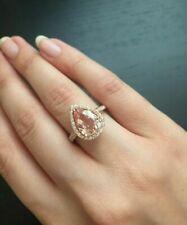 14K Rose Gold Finish 2Ct Pear Cut Morganite Diamond Unique Halo Engagement Ring