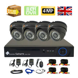CCTV Kit 4MP Plug and Play HD 1080P AHD 4 Dome Grey Cameras System 8 Channel DVR