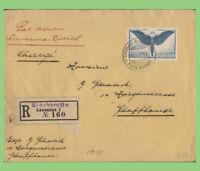 Switzerland 1924 65c on reg. airmail Cover, Lausanne to Zurich