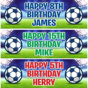 2 Personalised Birthday Banners Football Stadium Kids Party Decoration Poster