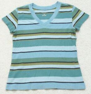 Van Heusen Blue Woman Striped Tee T-Shirt Top Short Sleeve Cotton Extra Small XS
