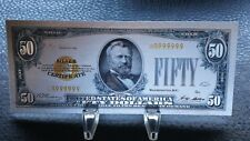 COLLECTABLE CLEARANCE SILVER PLATED 999 $50 US DOLLAR COLOURED NOVELTY GIFT