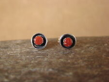 Native American Sterling Silver Spiny Oyster Post Earrings! Navajo Indian