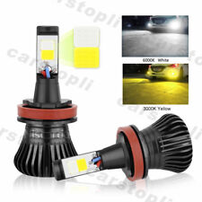 2x Dual Color H8 H9 H11 LED Bulbs Car Fog Lights Driving White Yellow 180W DRL