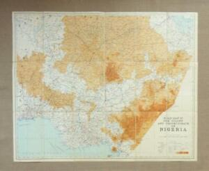 1950, MAP of NIGERIA, COLONY & PROTECTORATE - Dissected Paper-on-Cloth Road Map