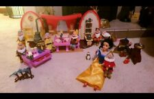 Rare Vintage Disney Snow white Cottage And Dwarfs playset toy collection princes