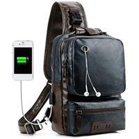 Shops Men Vintage P U Leather CrossBody Sling Bag Large Capacity Casual Backpack