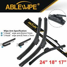 """ABLEWIPE Fit For MITSUBISHI LANCER 2002-2006 Beam Front Wiper Blades 24"""" 18"""" 17"""""""