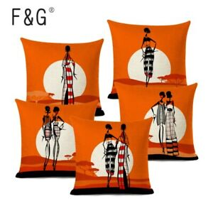 African Style Black Women Cushion Cover Fashion African Girl Home Art Decoration