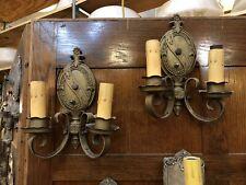 Pair of Circa 1920 Bronze Tone Double Light Renaissance Revival Wall Sconces