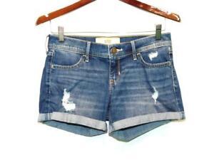 "Hollister Size 3 W26 Blue Distressed Denim Midi Shorts Low Rise 4"" Inseam Cuffed"