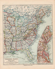 Antique map. North America. Usa. Eastern States. c 1909
