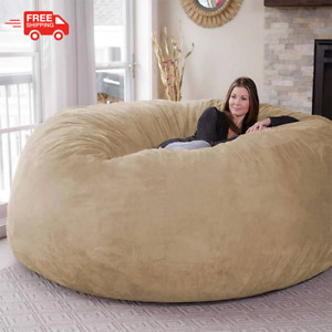7FT Microsuede Foam Giant Bean Bag Memory Living Room Chair Lazy Sofa Soft Cover