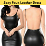 Women Sexy Mini Dress Black Faux Leather Backless Club Party Short Bodycon New