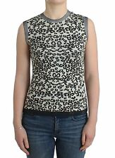 Pierre Balmain Leopard Print Knit Top Blouse Sleeveless Tank It 42/us8