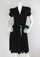 Betsey Johnson Sz S Black Retro Puff Short Sleeve Belted Waist Dress