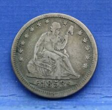 1853 SEATED LIBERTY QUARTER WITH ARROWS AND RAYS  FINE F