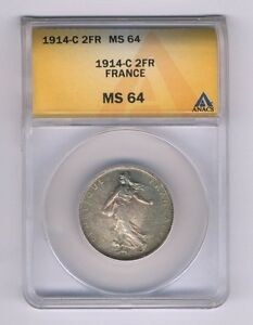 FRANCE  1914-C  2 FRANCS SILVER COIN, CHOICE UNCIRCULATED, ANACS CERTIFIED MS-64