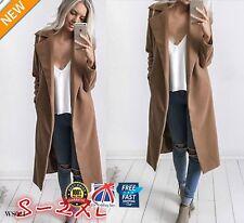 UK Women Wool Lapel Long Coat Trench Parka Jacket Overcoat Winter Outwear WS021