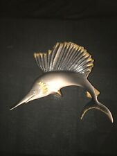 Vintage Ceramic Swordfish Wall Plaque Pocket For Retro Fish Mermaid Bath Decor