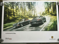 PORSCHE 991 911 50th ANNIVERSARY CAR PASSING 1964 911 SHOWROOM POSTER 2013 NEW.