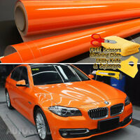 "72"" x 60"" Super Gloss Orange Vinyl Film Wrap Sticker Air Bubble Free 6ft x 5ft"