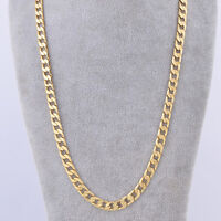 """18K Yellow Gold Plated Real Cuban Chain Long Necklace 24"""" 7mm Men's Jewelry"""