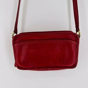 Vintage Coach Carnival Leather Crossbody Bag Deep Red Rust Gold Hardware