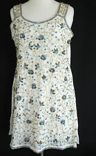 Vtg Hand Made Sequin Tunic Top/Dress Size M Ivory Tone Beading Sleeveless