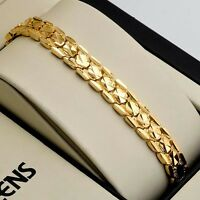 """Women Bracelet Charms Chain 18K Yellow Gold Filled 8"""" Link 10mm Fashion Jewelry"""
