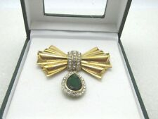 """Avon Rhinestone Bow and Dangle Brooch, Signed 2004 HS Avon, 2-1/8"""", In Box"""