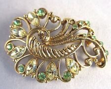 Vintage Green Swirl With Marquis Round Rhinstones Gold Tone Pin Brooch