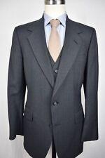 1976-1994 Allyn St. George Dark Gray Striped Wool Three Piece Suit Size: 40R