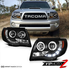 2005-2011 Toyota Tacoma Black HALO LED Projector Headlights Pre Runner X Runner