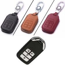 Genuine Leather 4 Button Remote Key Bag Case Fob Holder Chain For Honda Series E