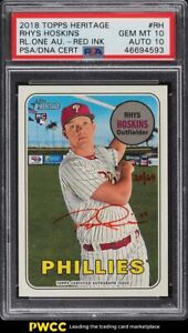2018 Topps Heritage Real One Rhys Hoskins ROOKIE RC PSA/DNA 10 AUTO /69 PSA 10