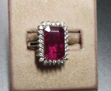 14K WG Ring with Big Natural Ruby and Halo of VS Diamonds Q90
