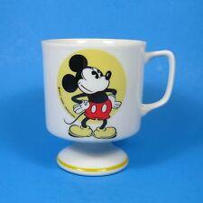 Vintage Retro Walt Disney Productions MICKEY MOUSE MUG Footed Pedestal Yellow