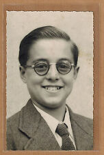 Carte Photo vintage card RPPC portrait enfant costume cravate lunettes ph0166